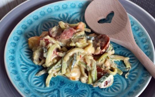Zucchininudeln mit Frisckäse