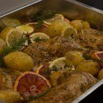 Hähnchen in Blutorangen und Zitronen